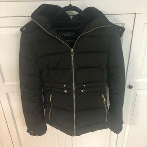 Zara Down puffer jacket with fur hood M